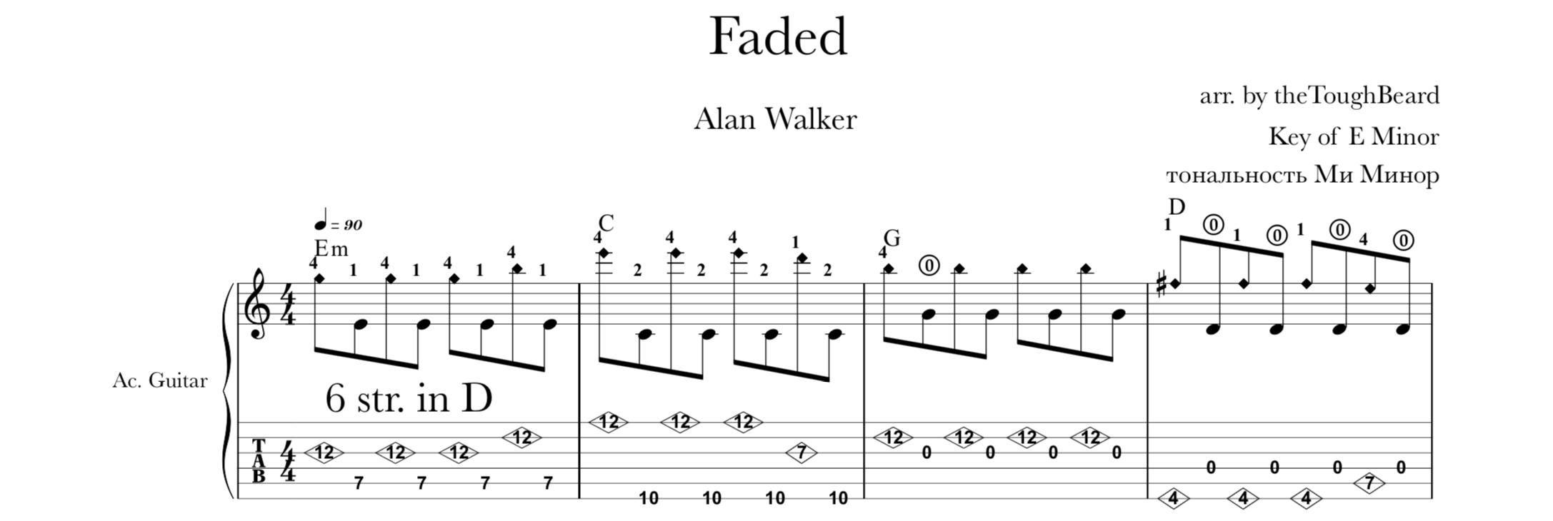 Faded Alan Walker табы theToughBeard
